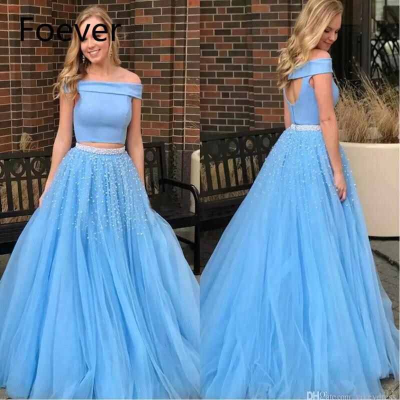 Bleu deux pièces robes de bal 2019 avec perles perles hors épaule longueur du sol formelle robes de soirée