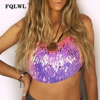 FQLWL Scales Bustier Sequin Top Women Camis Halter Backless Bandage Bralette Crop Top Female Metal Chain Sexy Womens Tank Tops