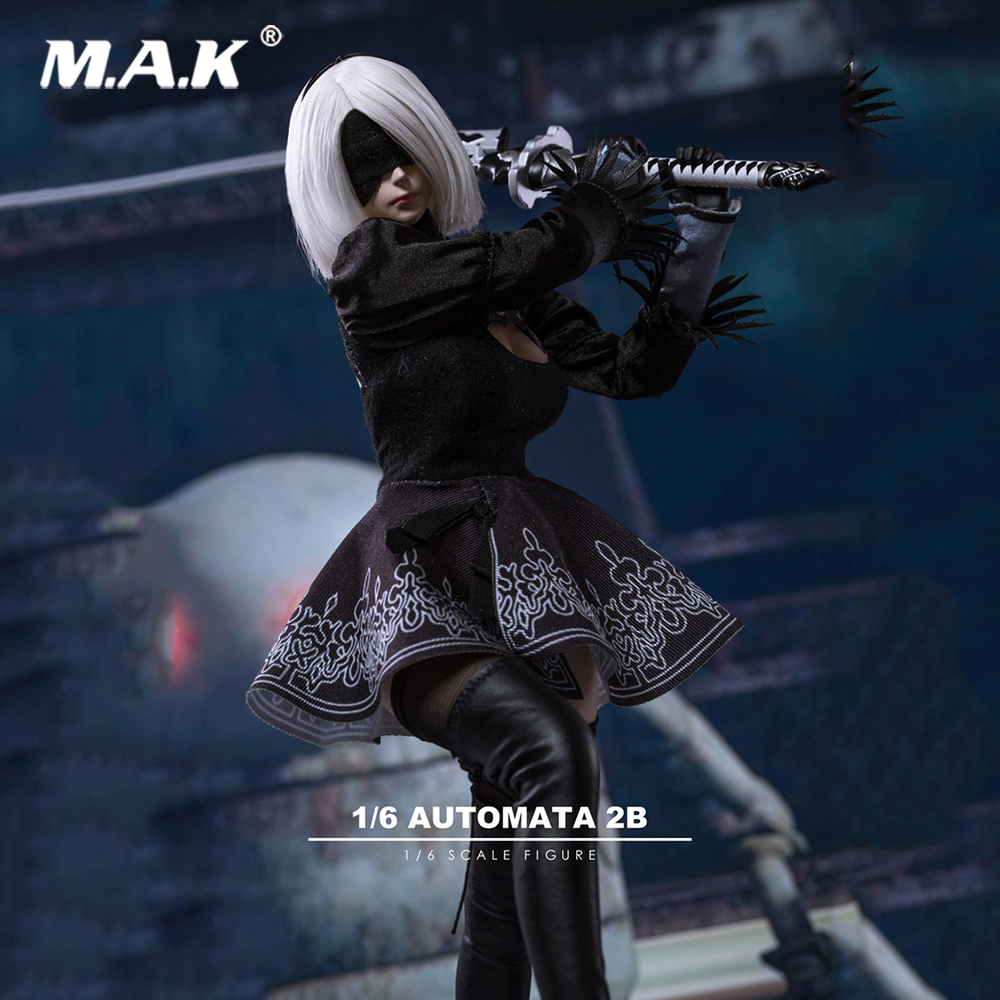 1/6 Scale Sexy Clothes Set TF01 1/6 NieR:Automata A2 Female Girl Head Carved with Sword Clothes Set for 12'' Female Figure Body fgc2017 39 40 41 1 6 scale sexy female clothes roller girl head and clothing set for 12 ph doll action figure