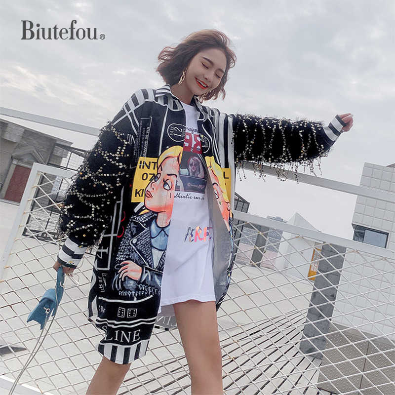 2019 Autumn sequin shirts women fashion women chic loose long shirts