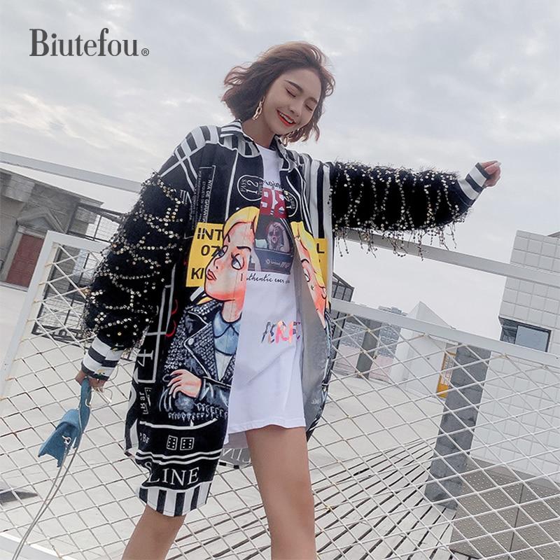 2019 Spring sequin shirts women fashion women chic loose long shirts