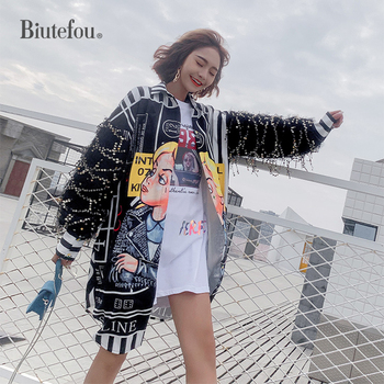 2020 Autumn sequin shirts women fashion chic loose long