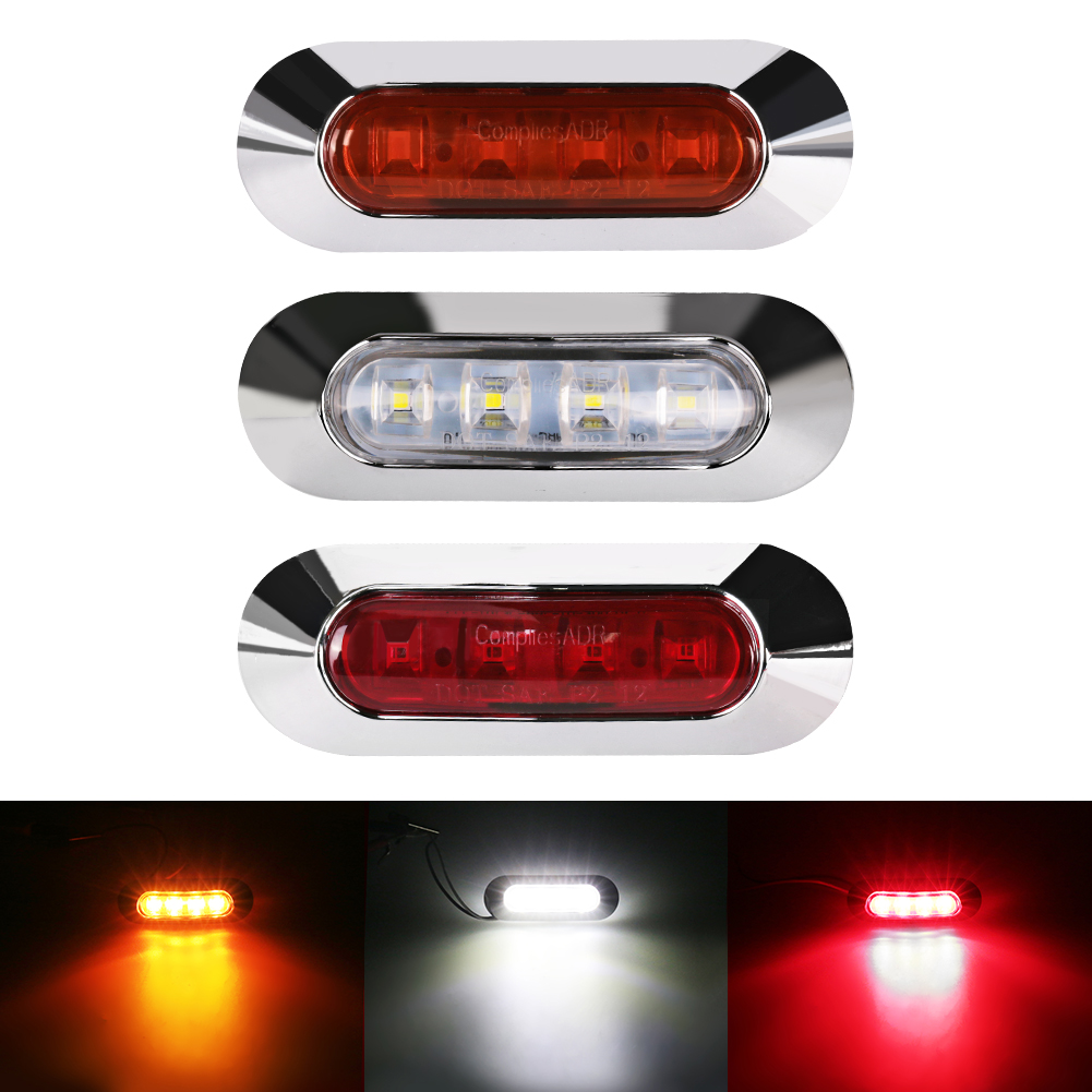 Urbanroad Universal 4 LED Car Truck Bus Trailer Side Marker Clearance Indicators Light Side Marker Parking Light Red White Amber citall 10pcs car trailer truck boat lorry van 2 led amber clearance lamp side marker signal light for ford audi a4 vw kia mazda