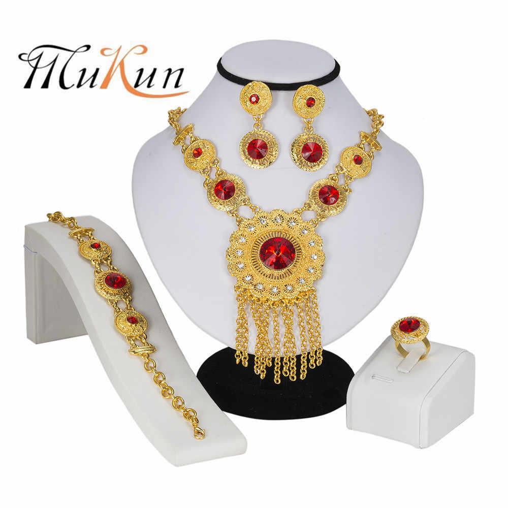 MUKUN Высокая мода комплект ювелирных изделий «Дубай» Кристалл Золото Серебро нигерийское свадебное платье в африканском стиле бусины ювелирные изделия женские ювелирные украшения