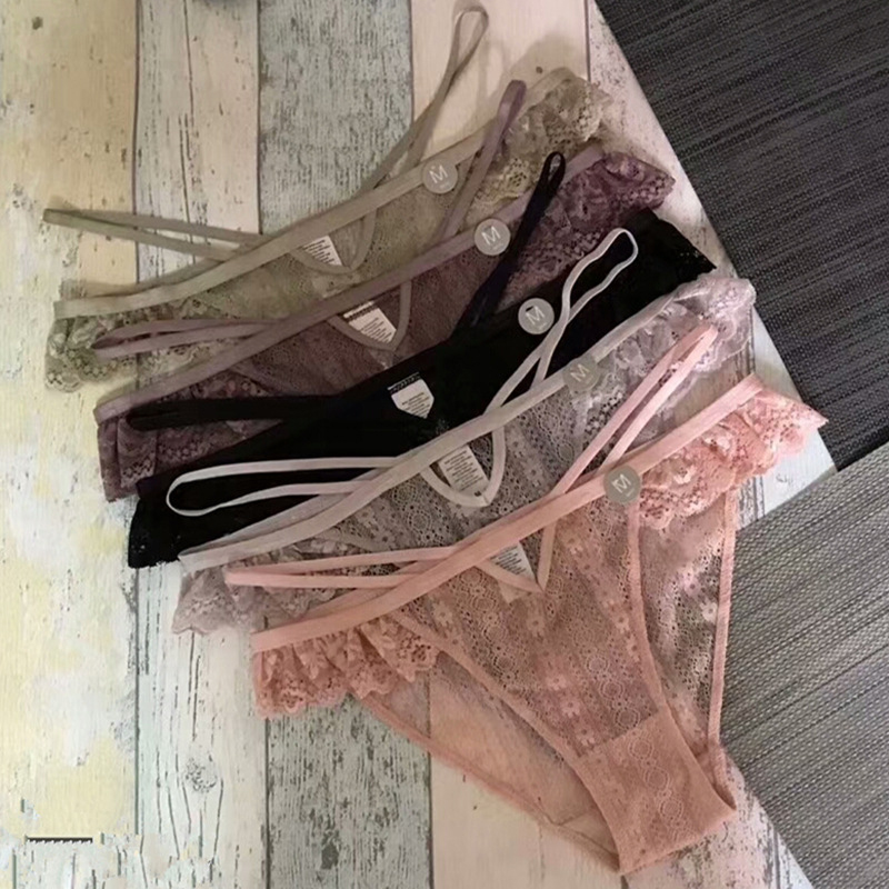 SP&CITY Bandage Design Lace Ruffle Hollow Out   Panties   Sex String Women Sexy Transparent Underwear Crotch Cotton Briefs Lingerie