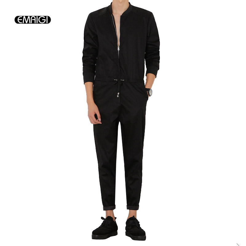Mens Jumpsuit Fashion Long Sleeved Overalls Male Elegant Cool Overalls Slim Fit Harem Pants Hip Hop Trousers Black Jumpsuit A94-in Overalls from Men's Clothing    1