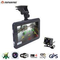 7 GPS Navigation Car DVR 16G AVIN Android Radar Detector with Rear view Camera Dashcam Automobile Navigator Navitel Map Sat nav