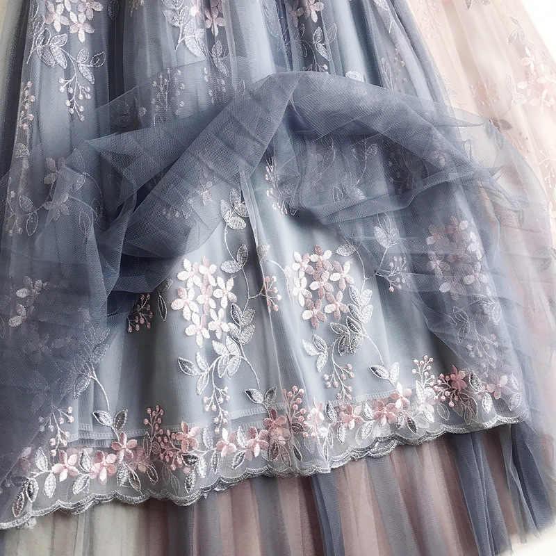 2019 夏の花の刺繍チュールスカートハイウエスト単語ロングスカートハイウエストプリーツスカート女性チュチュスカート
