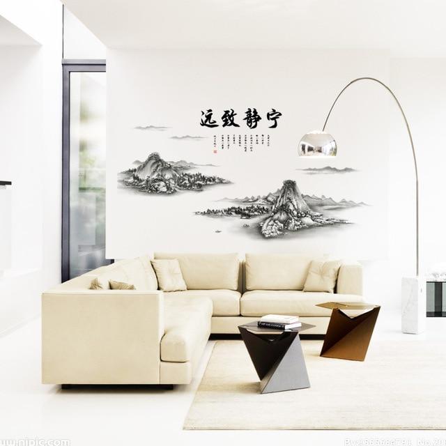 Chiński Górach Poeta Napis Słowa Naklejki ścienne Salon Biura