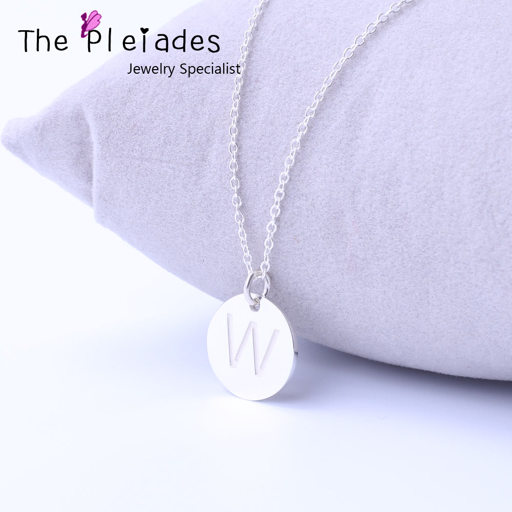 925 Sterling Silver Mini Disc Necklace, Custom Single initial Engraved Disc, Personalized Necklace with Name