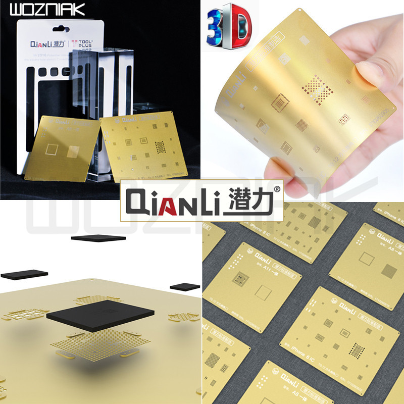 QIANLI IOS Golden 3D Steel Mesh NAND baseband IC/CPU A8 A9 A10 A11 3D BGA Reballing Stencil for IPHONE 6 6S 7 7P 8P T0.12 net