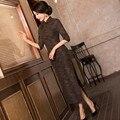 New Arrival Chinese Tradition Mandarin Collar Women's Cotton Linen Long Cheong-sam Qipao S M L XL XXL TZM201508