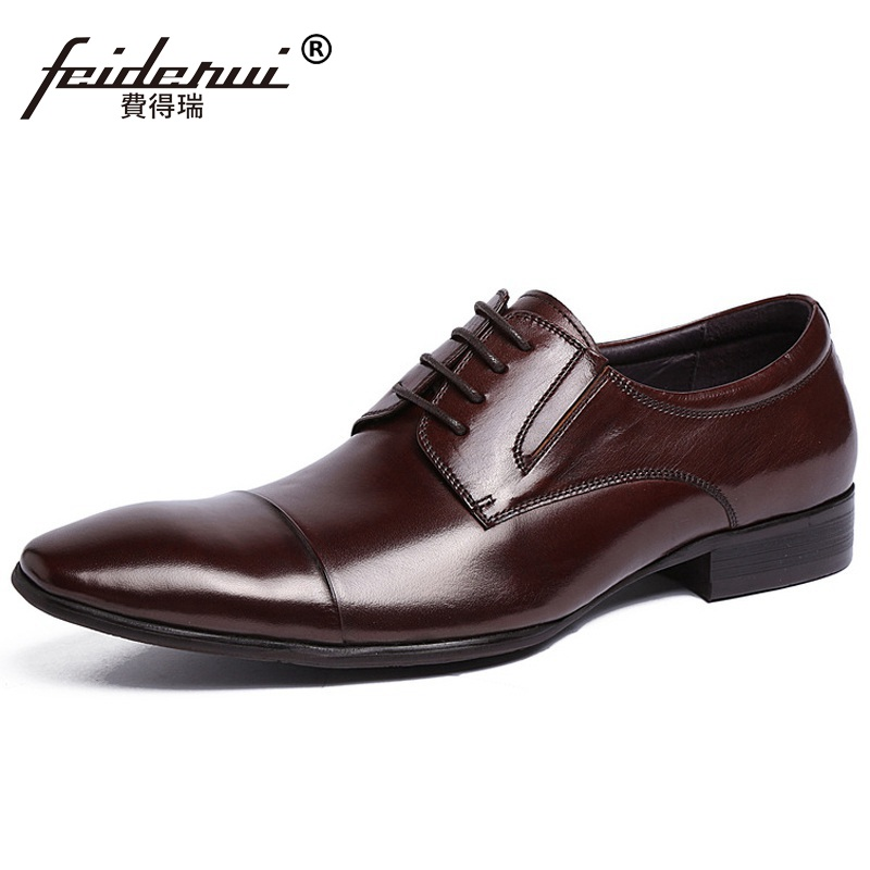 Fashion Cap Top Handmade Man Derby Formal Dress Shoes Genuine Leather Male Wedding Oxfords Luxury Brand Men's Bridal Flats ME79 new arrival pointed toe derby man formal dress shoes luxury brand genuine leather male oxfords men s wedding bridal flats jd56