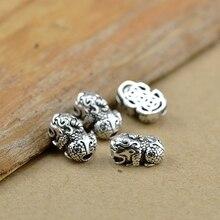 Маленькие 925 серебряные бусины Pixiu, чистое серебро, фэншуй, бусины Pixiu, богатство пиксиу, бусины с символом удачи, сделай сам, аксессуары для ювелирных изделий