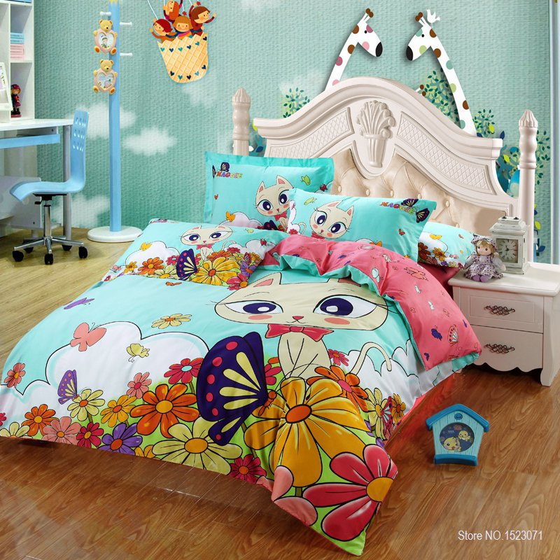 100 Cotton Cat Print Kids Bedding Set King Queen Twin Size