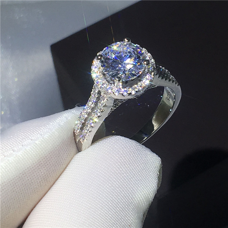 Luxury Female ring 925 Sterling silver Engagement wedding band rings for women 3ct Clear AAAAA zircon crystal Bijoux