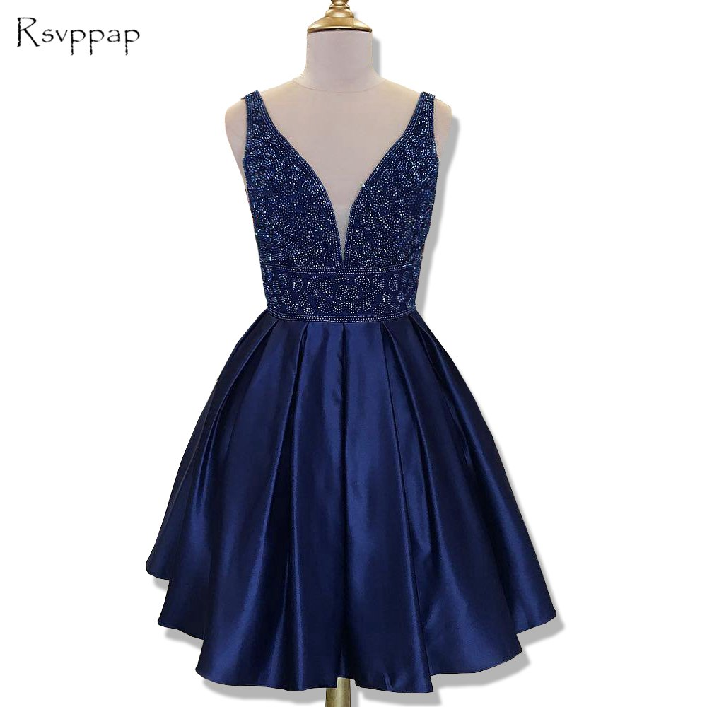 Stunning Short Homecoming Dress 2019 Cute Top Beaded Sweet 16 Navy Blue 8th Grade Prom Dresses