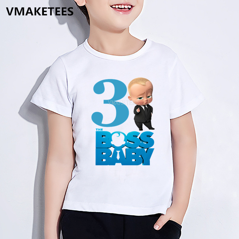 Kids Happy <font><b>Birthday</b></font> Gift Girls & Boys <font><b>Tshirt</b></font> Children The Boss <font><b>Baby</b></font> Number 1-9 Print T-shirt Cartoon Funny <font><b>Baby</b></font> Clothes,ooo5268 image
