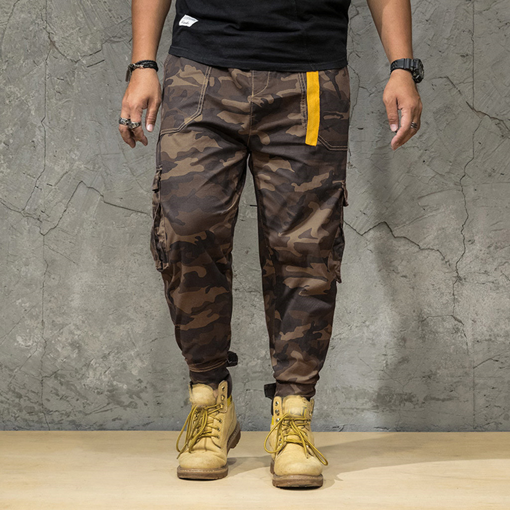 2019 men's loose large size printed sweatpants men's casual pockets loose jogging pants fashion jeans