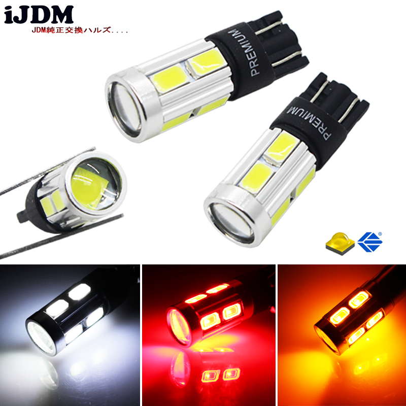 iJDM T10 LED Xenon White 3W XBD CANBUS Error Free W5W 168 194 2825 912 921 LED Bulbs For Parking Postion Lights Yellow Red 12V katur 2pcs t15 w16w led reverse light bulbs 920 921 912 canbus 4014 45smd highlight led backup parking light lamp bulbs dc12v