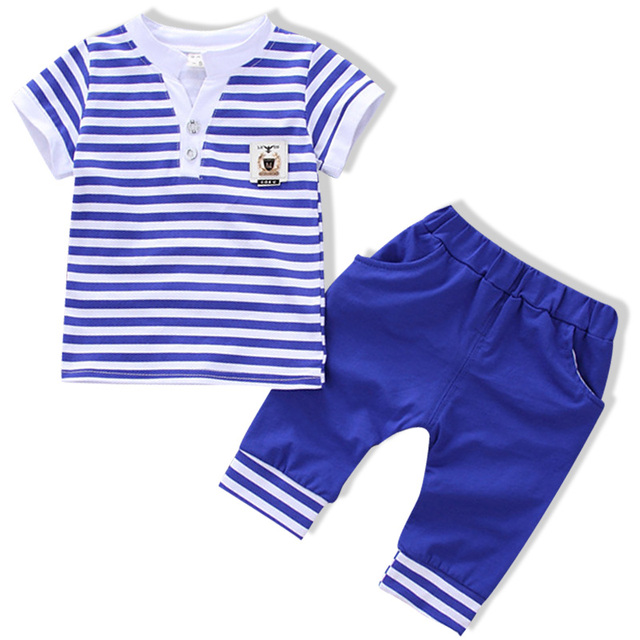 2018 Grey Striped baby girl Boys clothes set Baby Boy Girl Long sleeve t shirt+Pants Clothing Sets  Spring and autumn wear