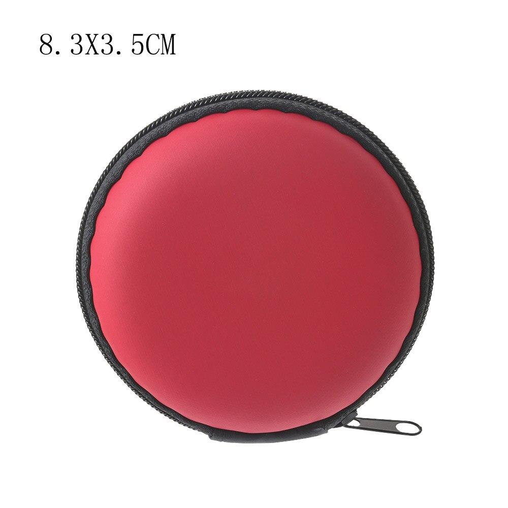 Чехол-контейнер для монет, наушников, защитная коробка для хранения, цветные наушники чехол для путешествий, сумка для хранения наушников, кабель для передачи данных, зарядное устройство - Цвет: Red Round 8cm