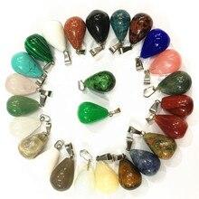 50 pièces assorties de pendentifs goutte deau en pierre naturelle de guérison Reiki Roses Quartz Agates opale oeil de tigre colliers à breloques 13*18mm