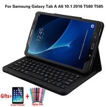 สำหรับSamsung Galaxy Tab A A6 10.1 2016 T580 T585 T580N T585Nแบบถอดได้ไร้สายบลูทูธคีย์บอร์ดFunda + flim + ปากกา