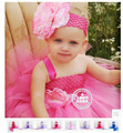 1 year birthday dress infant cute clothing Baby puff flower tutu dress handmade gauze free shipping
