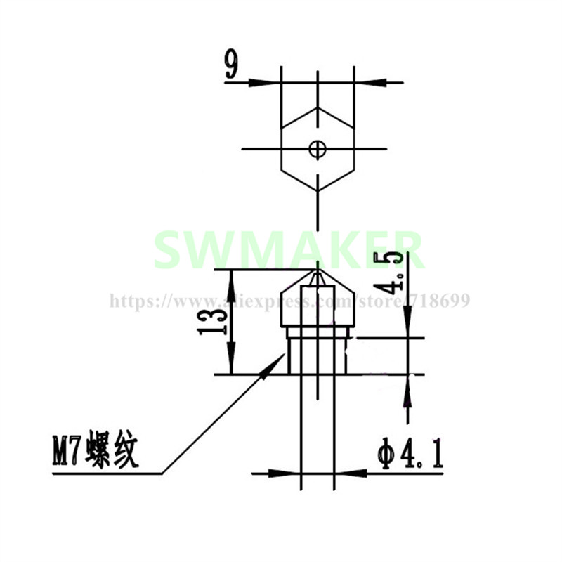 SWMAKER brass MK10 replacement Nozzle M7 thread for Flashforge Creator pro Wanhao D4 I3 Dremel 3D flashforge stepper motor wiring diagram diagram wiring diagrams  at bayanpartner.co