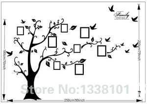 Image 3 - Free Shipping:Large 200*250Cm/79*99in Black 3D DIY Photo Tree PVC Wall Decals/Adhesive Family Wall Stickers Mural Art Home Decor