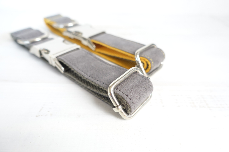 MUTTCO retailing self-designed dog collars GRAY COVER YELLOW and THE DEEP GRAY handmade poly satin and nylon collar and leash
