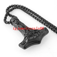 Classic Black Plated Stainless Steel Viking Thor Hammer Pendant Necklace For Biker Men S Boys Fashion