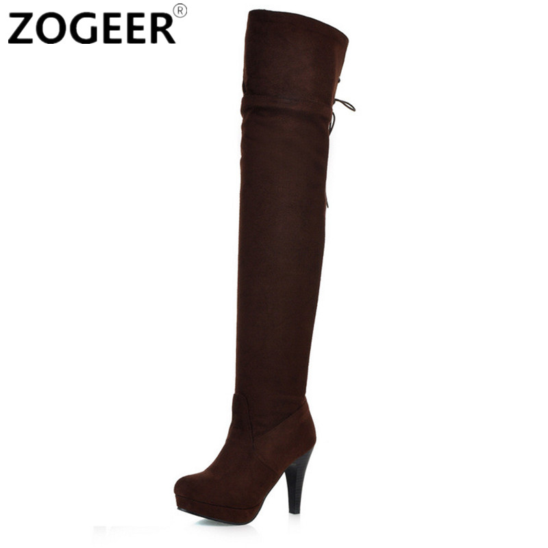 stretch suede the knee boots thigh high boots