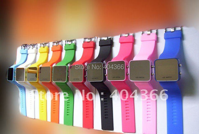 200pcs/lot Led Mirror Watch Plastic Fashion Watches with Red LED Light Free shipping