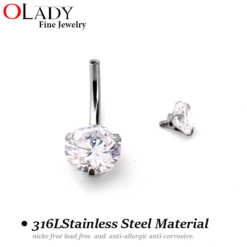 Putaran Zirkon 316L Stainless Steel Navel Belly Button Cincin Body - Perhiasan fashion - Foto 2