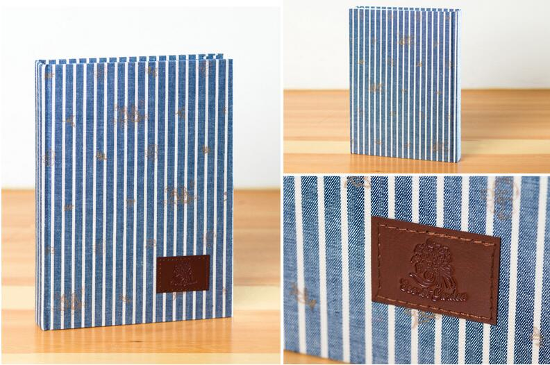 Brief blue stripes fashion cloth cover sketchbook 21*14.9cm 192 pages diary book 2017 for watercolor gift free shipping hallmark 249tm1482 gift trim letter p in blue and green stripes