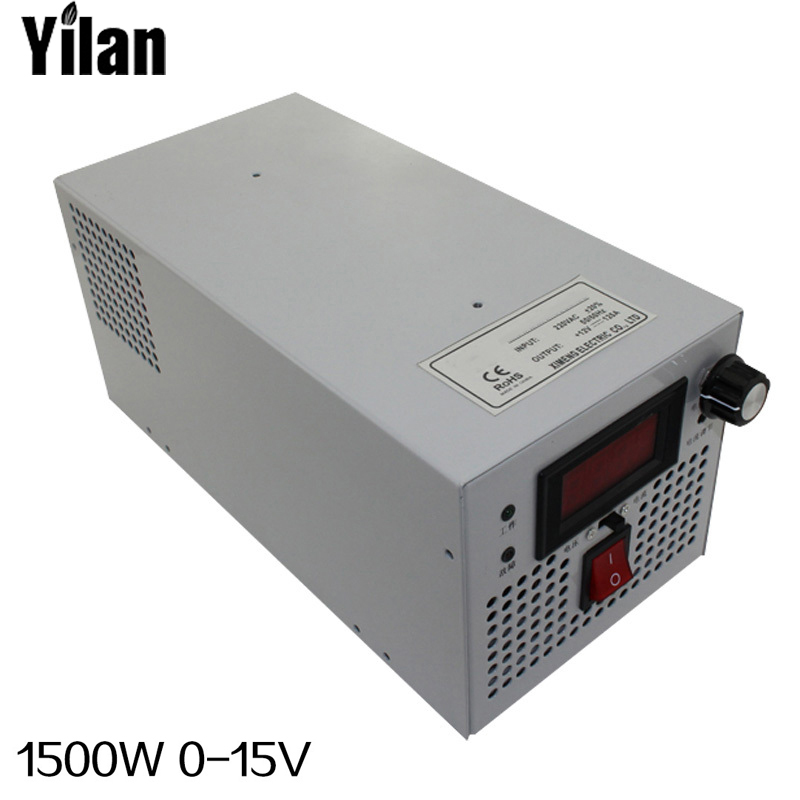 1500W 15V 100A adjustable 220V INPUT adjustable Single Output Switching power supply AC to DC 1200w 12v 100a adjustable 220v input single output switching power supply for led strip light ac to dc