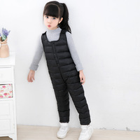 2 7T Kids Down Overalls Winter Warm Clothing 2018 New Boys Girls Fashion Solid White Duck Down Rompers Outwear High Quality