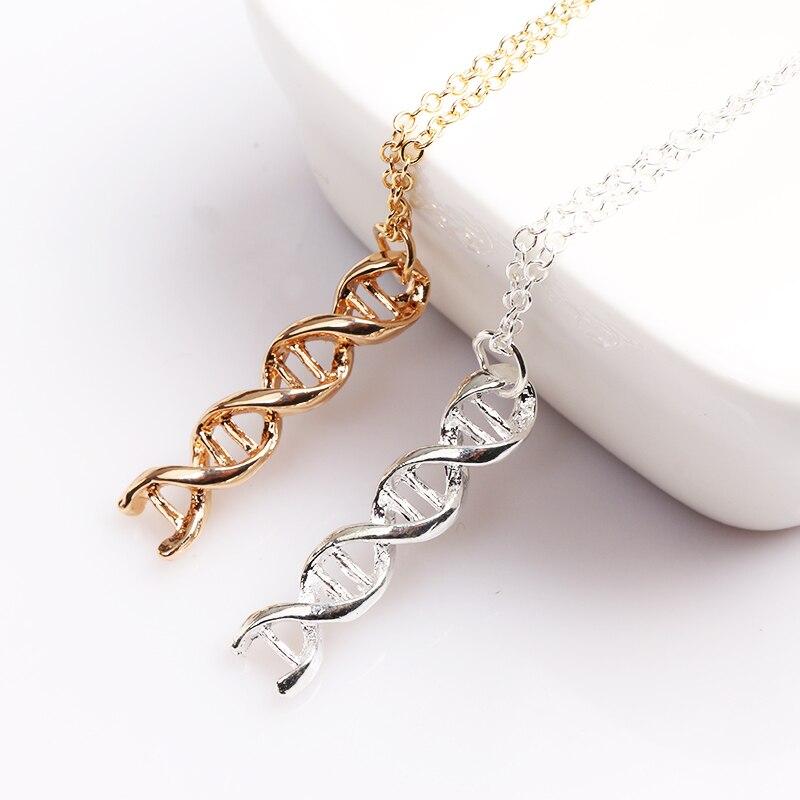 SG Silver Simple Chemical Formula DNA Molecular Necklace Dopamine Molecular Structure Hollow Necklace Pendant Girl Female Gift Ожерелье