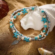 Fashion Double Layered Starfish Anklets for Women Bohemian Beach Owl Pendant Foot Chain Anklet Bracelets Jewelry