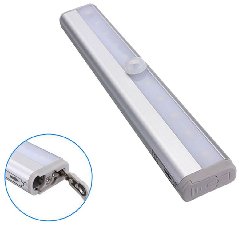 10 LED Bright Auto PIR Motion Sensor Light Lamp Bulb Drawer Cabinet Room Toliet