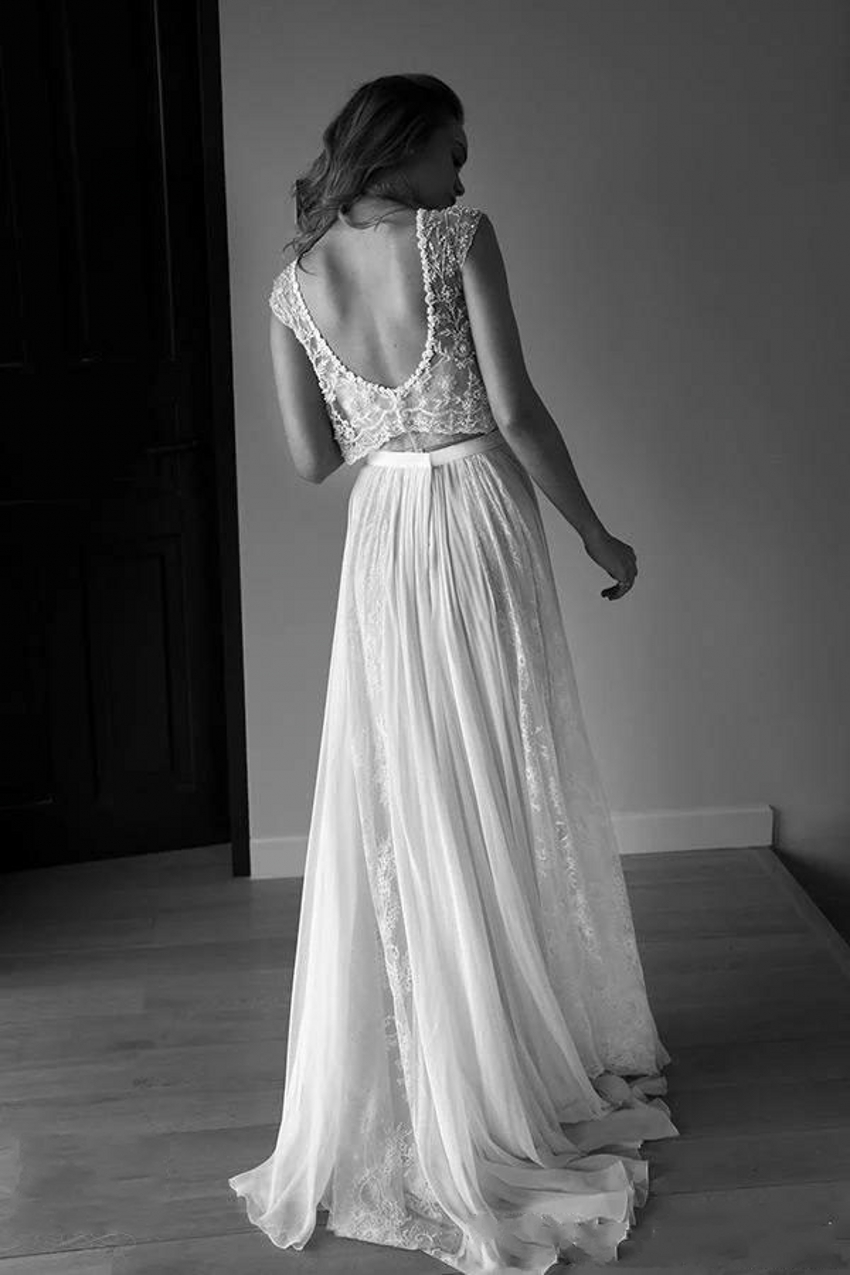 c2e154d3ca4 2016 Lace Vintage Beach Wedding Dresses Bohemian Boho Plus Size Cap Sleeves  Pearls Beaded Lihi Hod Two Pieces Bridal Dresses-in Wedding Dresses from ...