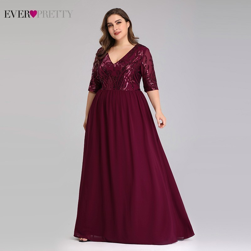 Plus Size Burgundy Evening Dresses Long Ever Pretty A-Line V-Neck Elegant Sequined Long Dresses For Party Robe De Soiree 2020