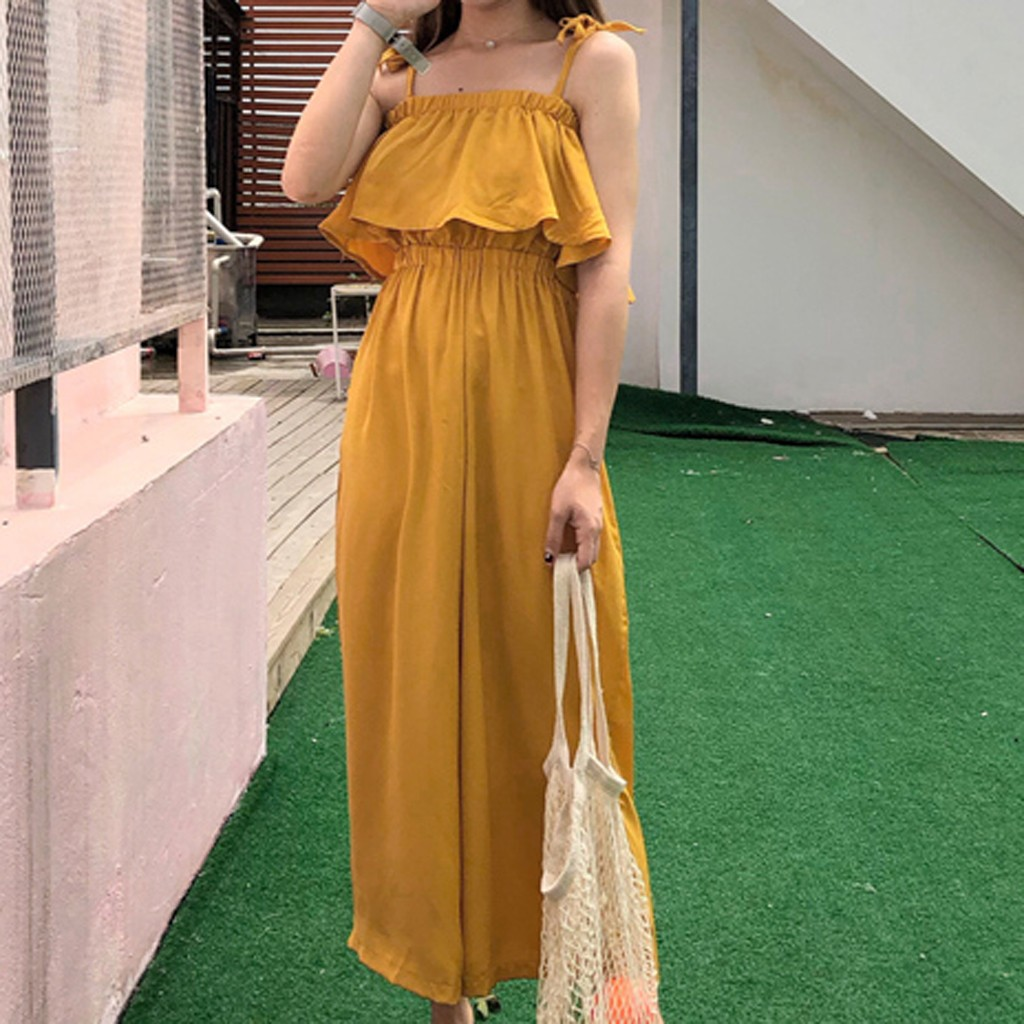 Off shoulder women jumpsuit romper Elegant high waist yellow jumpsuits long Summer wide leg overalls jumpsuits for women 2020