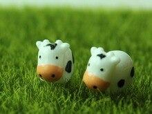 50pcs Mini Cute Milk Cow Miniature Fairy Garden Decorations DIY Resin Crafts Bonsai Terrarium Figurine Mini Garden Accessories