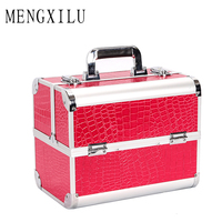 MENGXILU PU Leather Cosmetics Bag Large Capacity Pattern Storage Box Make Up Makeup Box Women Ladies