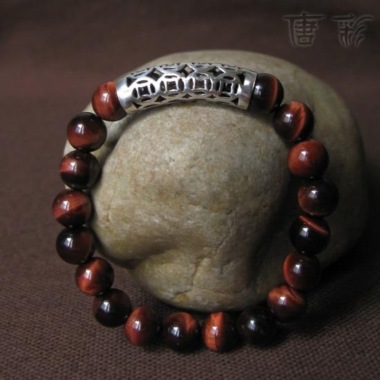 Ручной работы тигровый глаз 925 браслет из бисера удачи ювелирные изделия браслет фэн-шуй лаки браслет ювелирные изделия подарок
