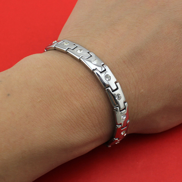 2017 New Hot Sell Women Fashion Silver Zircon 16 Germanium Cell Titanium Steel Bracelet Bangle TG04142 Wholesale Free Shipping