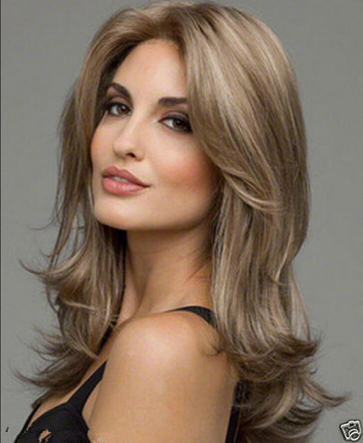 Lace Inside Fashion Women Lady Curly Long Wavy hair Golden Blonde Wig